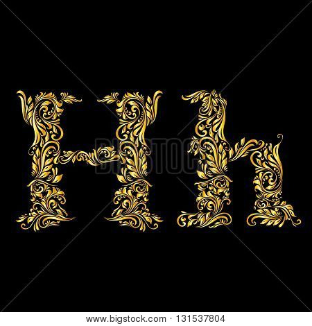 Richly decorated letter 'h' in upper and lower case on black background.