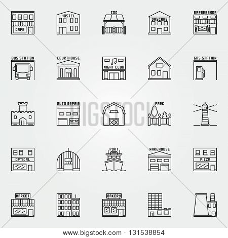 City buildings icons set. Vector collection of linear building and real estate symbols. Hostel, zoo, barbershop, night club signs in thin line style poster