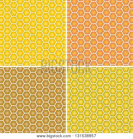 Vector detailed honeycomb background. Yellow and orange honeycomb
