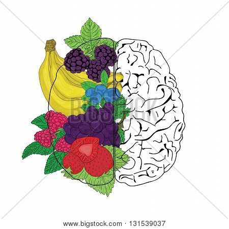 Concept of fruit helpful for healthy brain