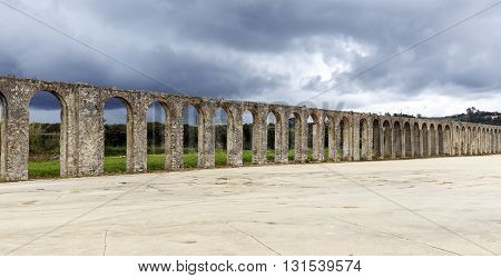 This 3km long aqueduct was built in the 16th century in Obidos in Extremadura Portugual.