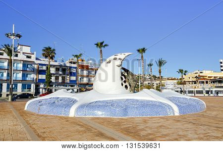Peniscola Spain - March 5 2016: commercial tourist center Peniscola is a Spanish fishing village bathed by the Mediterranean Sea and highly valued by tourists from around the world.