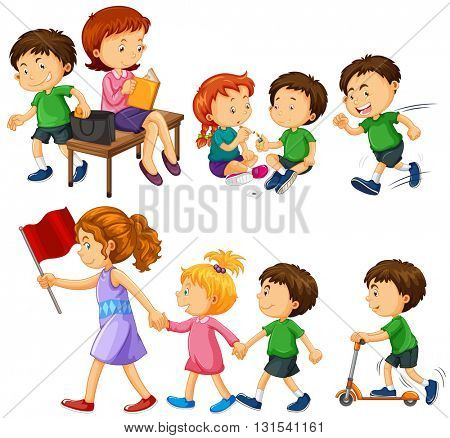 Boy in green shirt doing different activities illustration