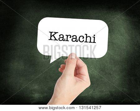 Karachi written on a speechbubble
