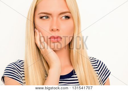 Portrait Of Upset Sick Woman Feeling Strong Pain In Cheek