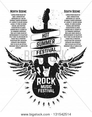 Hot summer festival. Guitar with wings. Rock music festival. Design element for poster flyer emblem logo sign. Vector design element.