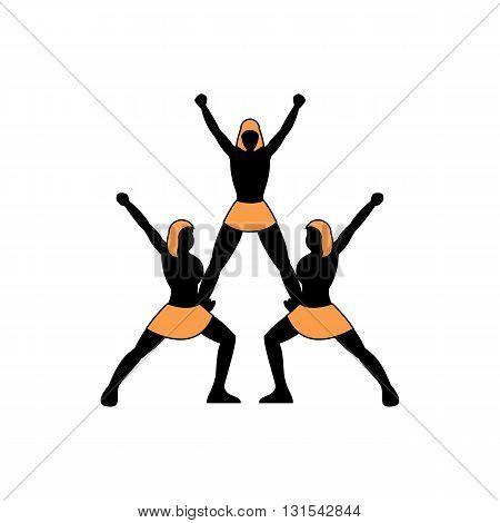 Human figures pyramid cheerleading team vector illustration isolated on white background.
