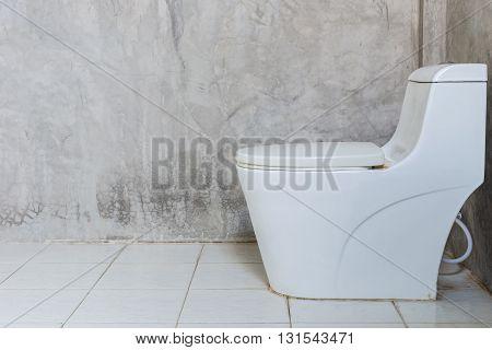 White Toilet Bowl Near The Wall In Bathroom