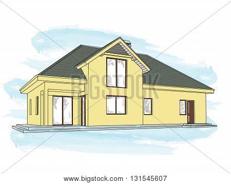 Suburban house. Architecture design elements. Vector illustration