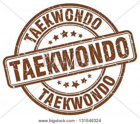Taekwondo Brown Grunge Round Vintage Rubber Stamp.taekwondo Stamp.taekwondo Round Stamp.taekwondo Gr