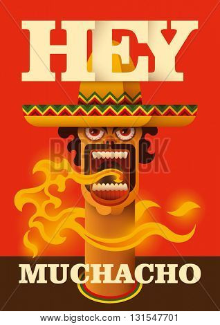 Poster with comic mexican guy. Vector illustration.