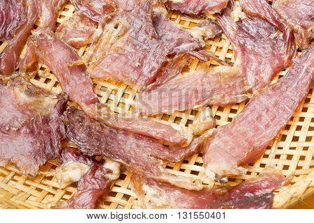 Sun Dried Beef On The Threshing Basket