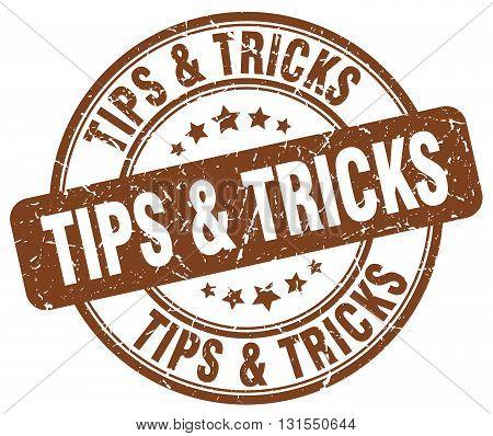 Tips & Tricks Brown Grunge Round Vintage Rubber Stamp.tips & Tricks Stamp.tips & Tricks Round Stamp.