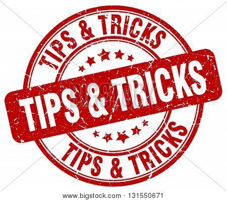 Tips & Tricks Red Grunge Round Vintage Rubber Stamp.tips & Tricks Stamp.tips & Tricks Round Stamp.ti