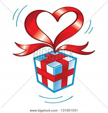 Gift box wrapped by red heartshaped ribbon