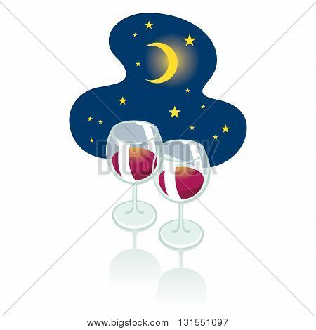 Romantic night - two wineglasses and moon in the starry sky