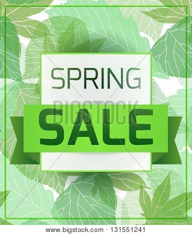 Banner for the spring sale with green leaves. Vector element for your design