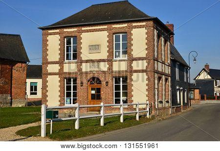 Fleury la Foret France - march 15 2016 : the picturesque city hall
