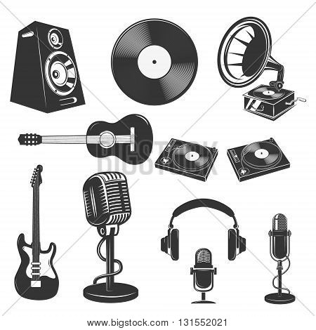 Set of the music instruments. Microphones speakers guitars Dj equipment. Elements for logo label emblem sign badge. Design elements in vector.
