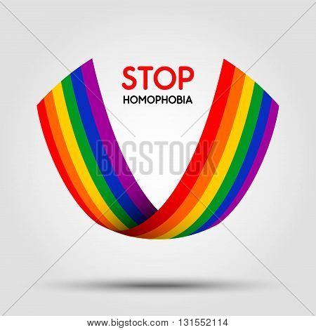 Stop homophobia. LGBT ribbon isolated on light background. Design element in vector.