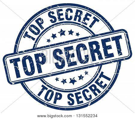 Top Secret Blue Grunge Round Vintage Rubber Stamp.top Secret Stamp.top Secret Round Stamp.top Secret