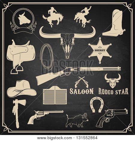 Wild west. Cowboy design elements. Rodeo. Graphics elements for logo label emblem badge sign.