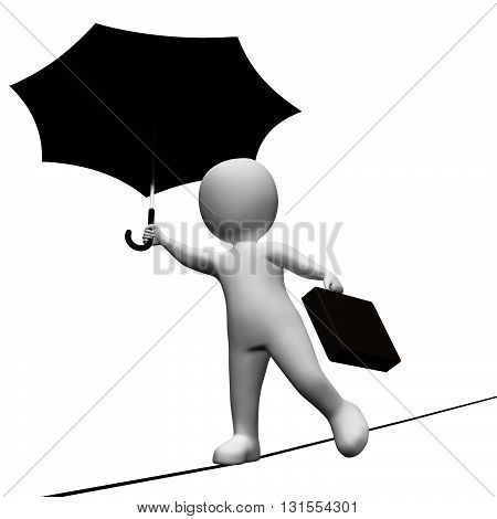 Character Tightrope Indicates Business Person And Achievement 3D Rendering
