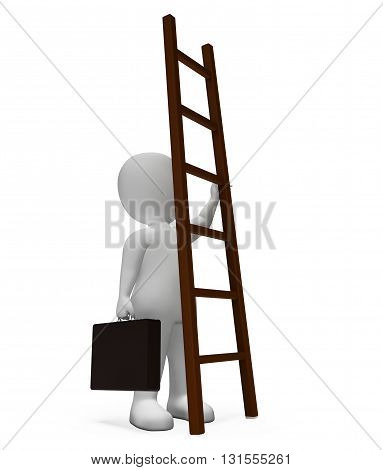 Ladder Character Means Hard Times And Advance 3D Rendering