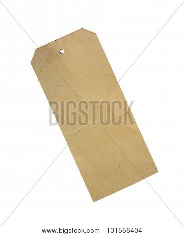 Blank paper price or sale tag isolated on white background.
