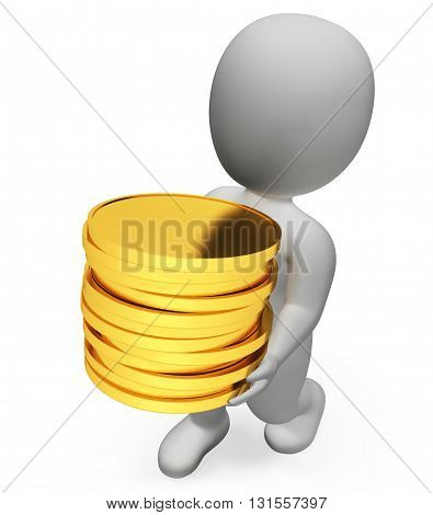 Finance Character Represents Wealth Richness And Banking 3D Rendering