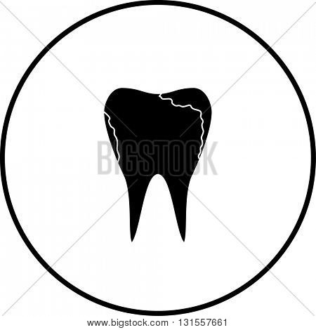 molar tooth with cavities symbol
