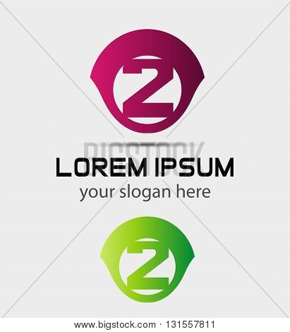 Logo number 2 vector design illustration template