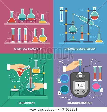 Chemical laboratory concept with instrumentation glassware burners and fluids measurement experiments reactions with acids isolated vector illustration