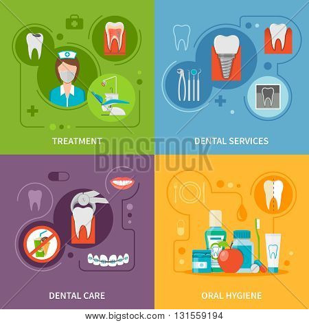 Dental Care Concept. Dental Icons Set. Dental Care Vector Illustration. Dental Care Symbols. Dental Care Design Set. Dental Elements Collection.