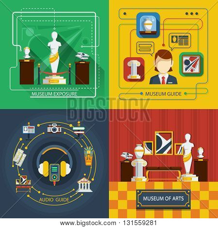 Museum icon composition set with different aspects of museum life in infographic style vector illustration