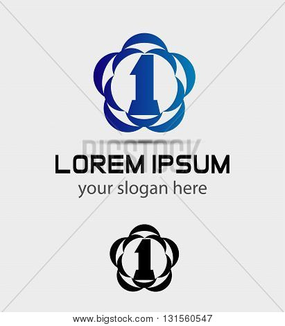 Number one 1 logo icon design template