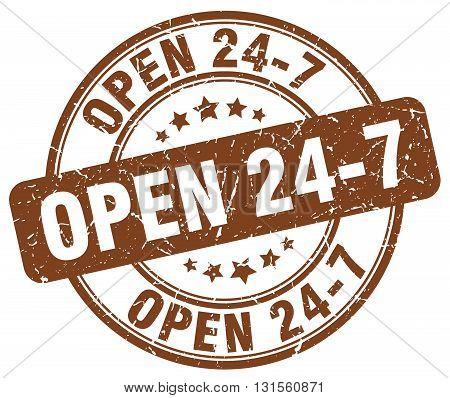 open 24 7 brown grunge round vintage rubber stamp.open 24 7 stamp.open 24 7 round stamp.open 24 7 grunge stamp.open 24 7.open 24 7 vintage stamp.
