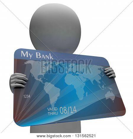 Debit Card Indicates Credit Cards And Bankrupt 3D Rendering