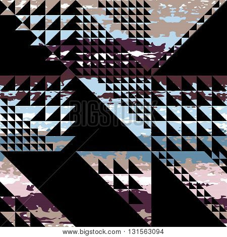 Cute Vector Geometric Seamless Pattern. Brush Strokes, Triangles. Hand Drawn Grunge Texture. Abstrac