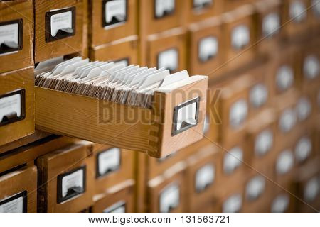 Library or archive reference card catalog. Database, knowledge base concept.
