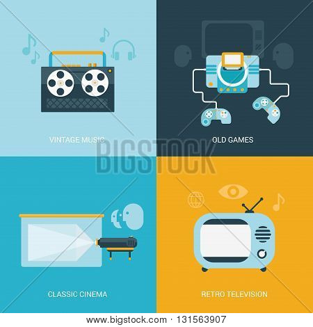 Flat design vector retro vintage electronics