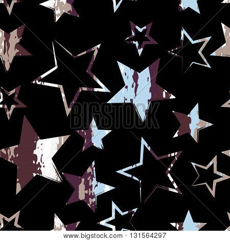 Seamless Universal Geometric Modern Pattern. Grunge Texture. Stars