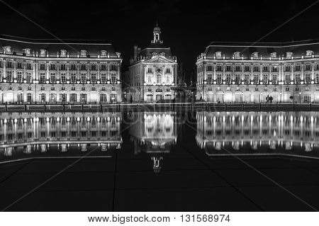 Place de la Bourse in Bordeaux in the night Aquitaine France