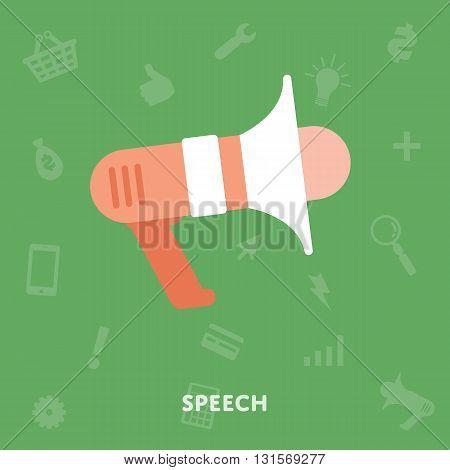 Megaphone icon isolated vector flat design illustration