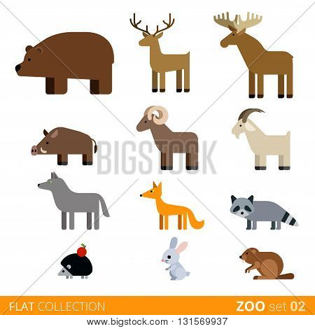 Flat vector icon wild farm domestic animal cartoon collection