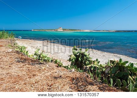 The coastline near Portopalo (Sicily) and the island of Capo Passero in the background