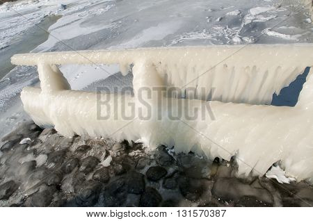 Icecicles On Guardrail