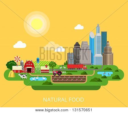 Natural Food Farm agriculture products flat isometric vector 3d