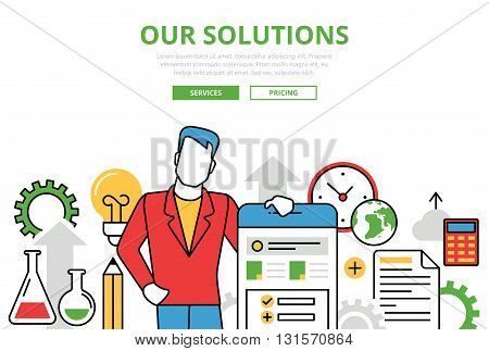 Business Solutions vector flat line art infographics banner