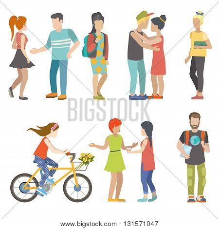 Casual urban young people skater bicycle student flat vector